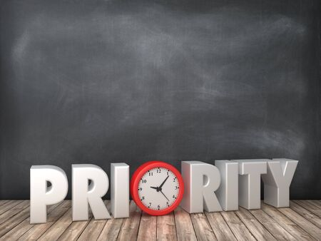 PRIORITY 3D Word with Clock on Chalkboard Background - High Quality 3D Rendering Stock Photo