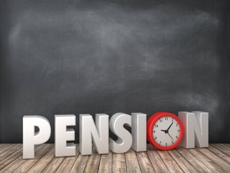 PENSION 3D Word with Clock on Chalkboard Background - High Quality 3D Rendering