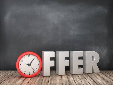 OFFER 3D Word with Clock on Chalkboard Background - High Quality 3D Rendering Stock Photo