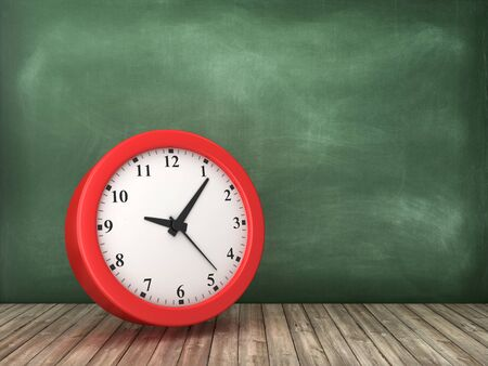 Clock on Chalkboard Background - High Quality 3D Rendering