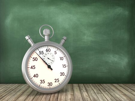 Retro Stopwatch on Chalkboard Background - High Quality 3D Rendering