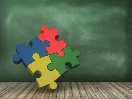 Jigsaw Puzzle Pieces on Chalkboard Background - High Quality 3D Rendering