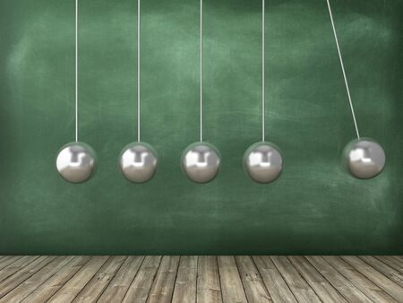 Newtons Cradle on Chalkboard Background - High Quality 3D Rendering Фото со стока