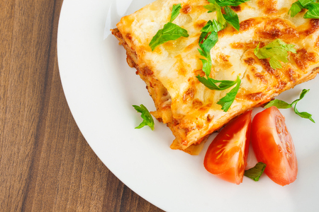 bolognese sauce: Delicious lasagna with Bolognese sauce close up.