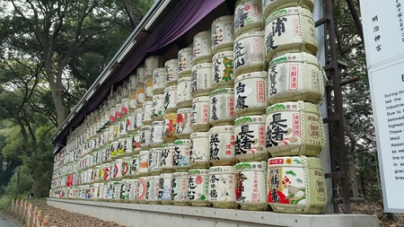 sake: Meiji Shrine sake display