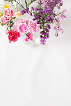 Collection of flowers on white background.