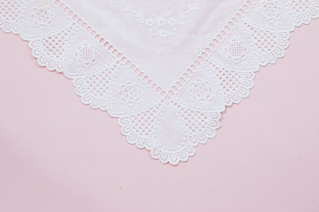 victorian wallpaper: Top view of white lace pattern on pink background Stock Photo