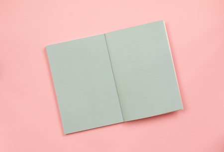 Top view of blank book pages on pink paper background.