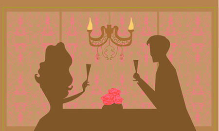 Young couple flirt and drink champagne  Stock Vector - 8400809