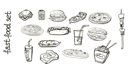 warmly: fast food set  Illustration