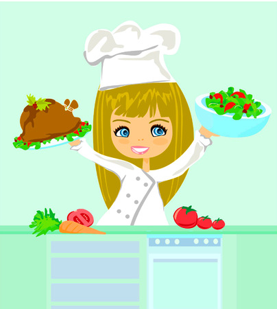 prepare: Beautiful girl cooking  Illustration