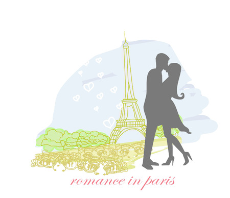 Romantic couple in Paris kissing near the Eiffel Tower. Silhouette Vector