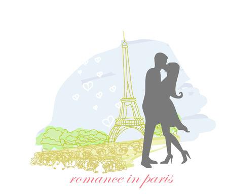 seine: Romantic couple in Paris kissing near the Eiffel Tower. Silhouette