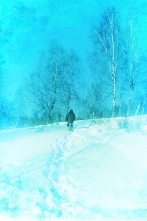 dog walker: Hiking in winter. Grunge illustration  Stock Photo