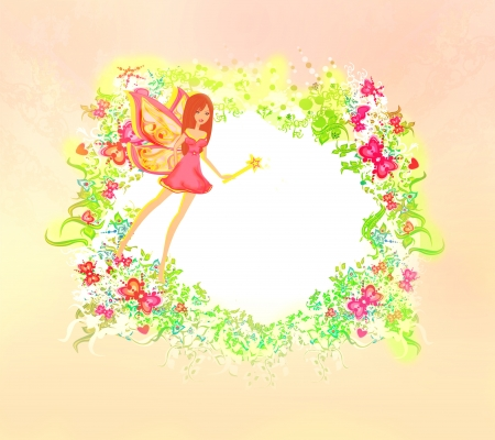 butterfly  angel: floral background with a beautiful fairy