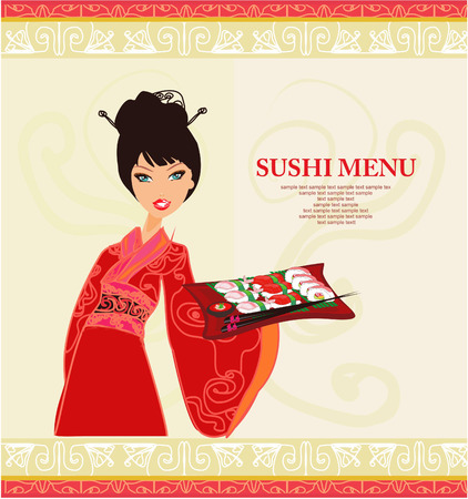 geisha kimono: sweet Asian girl enjoy sushi
