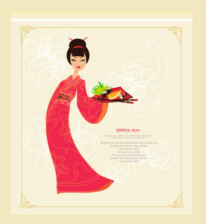 sweet Asian girl enjoy sushi  Stock Vector - 8977835