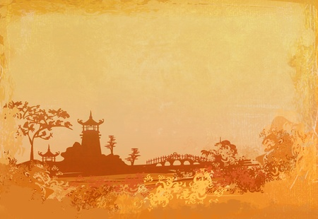old paper with Asian Landscape Stock Photo - 9094972