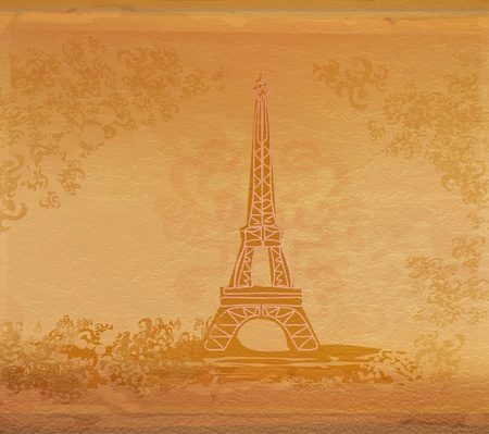 vintage eiffel card Stock Photo - 9094981