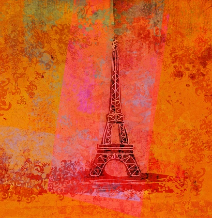romantic travel: grunge eiffel card
