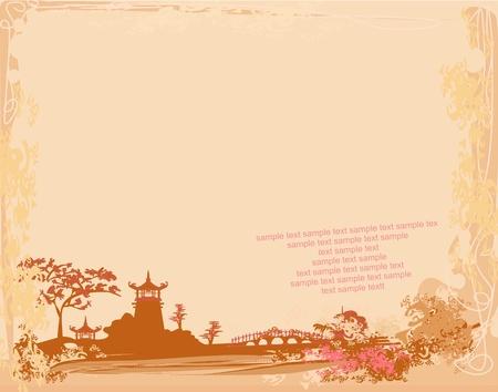 bouddhisme: vieux papiers avec paysage asiatique Illustration