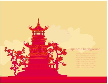pagoda: papel viejo con paisaje asi�ticos