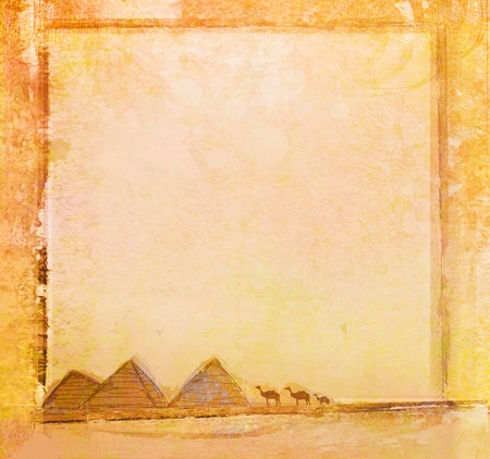 egyptian pyramids: old paper with pyramids giza