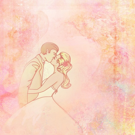 Wedding Couple - Romantic Raster Background Stock Photo - 9767642