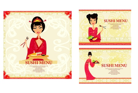 template of traditional Japanese food menu set     Stock Vector - 9881206
