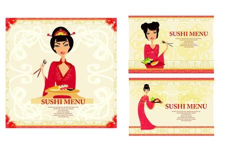 template of traditional Japanese food menu set Stock Vector - 9881206