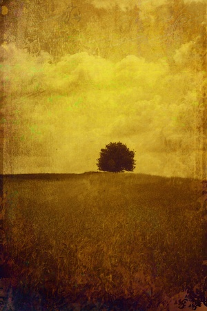 An Artistic Messy Grunge Landscape with a Tree Stock Photo - 9881211