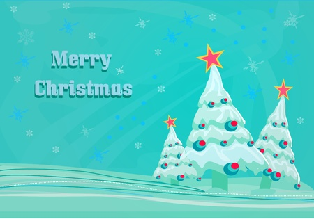 folkart: christmas trees in blue - vector card