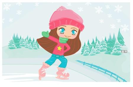 Girl on skates Stock Vector - 9881214
