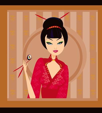 beautiful Asian girl enjoy sushi Stock Vector - 9881215