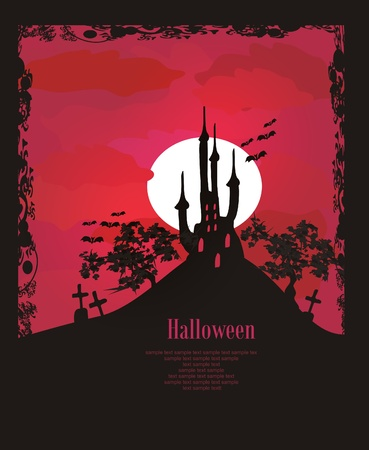 horror castle: grungy fondo de Halloween con castillo            Vectores