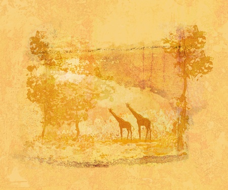 grunge background with African fauna and flora photo