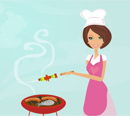 Woman cooking on a grill Stock Vector - 9993721