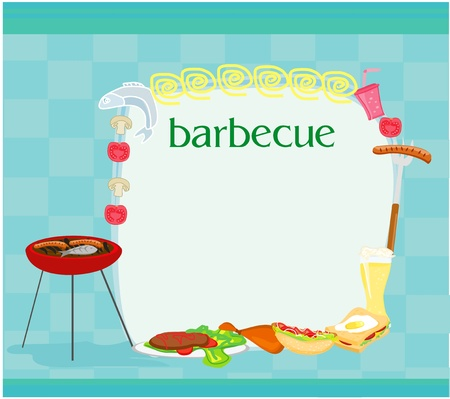 grilled salmon: Barbecue Party Invitation with copy space