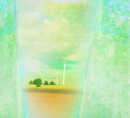 Windmills in summer landscape - grunge card  Stock Photo - 10074160