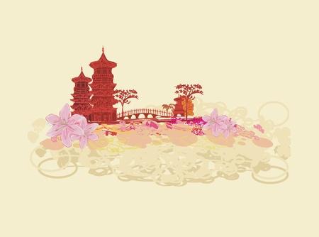 kelet ázsiai kultúra: régi papír ázsiai Landscape Illusztráció