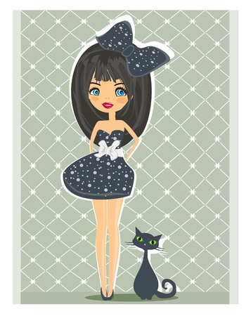 sweet girl and her cat           Vector