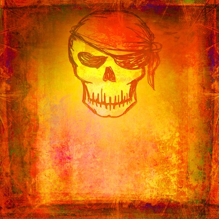 Skull Pirate - retro grunge card Stock Photo - 10289006