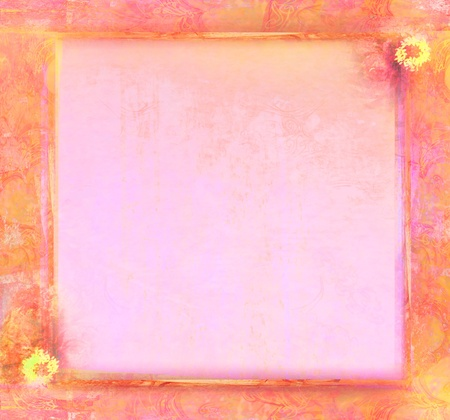 Grunge Frame For Congratulation With Flower photo