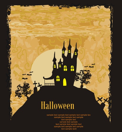 house party: grungy Halloween background with haunted house       Illustration