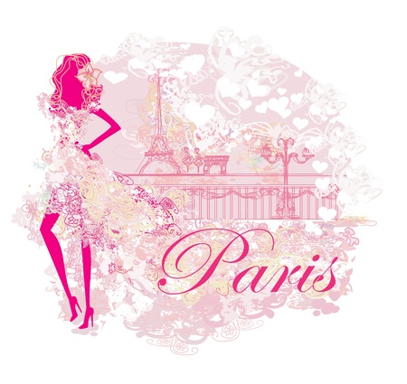 beautiful women Shopping in Paris Illustration