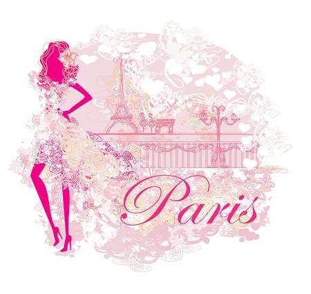 beautiful women Shopping in Paris Illustration