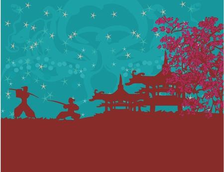 Samurai silhouette in Asian Landscape  Vector