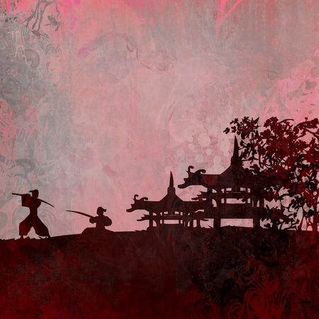 japanese ninja: Samurai silhouette in Asian Landscape