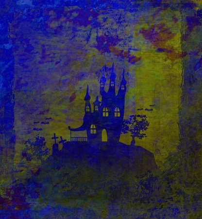 grungy Halloween background with haunted house  photo