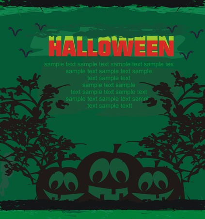 chap: broken halloween pumpkin on grunge green background vector illustration